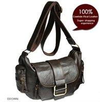 FREE SHIPPING-Wholesale&Retail Fashion Women&Girl's Brown Real leather Genuine Leather handbag shoulder bag Messenger Bag