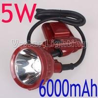 5W LED KL6LM Miner Cap Light Headlamp Li-ion 6000mAh Battery Free Shipping!!