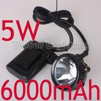 DHL Free Shipping!! 5W 6000mAh Li-ion Battery LED Mining Cap Lamp Headlamp