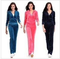 Brand New fashion Velours long Sleeve Sweat suit brand Tracksuit woman's sport suits