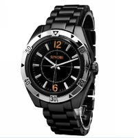 HOT sell brand SINOBI Stainless Steel analog Men Sport watches BLACK,FREE SHIPPING
