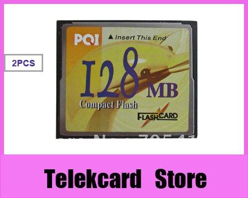2X FREE SHIPPING PQI 128MB Compact Flash CF Memory Card free CARD CASE(China (Mainland))