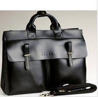 Free shipping,Hot sell Genuine Leather Fashion men's brifecase,cow leather handsome handbag shoulder/Messenger bag ,Zipper,Black