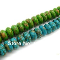 Wholesale 10*5mm mix colors natural turquoise beads semi-precious stone bead spacer bead 140pcs wholesale free shipping HA032A