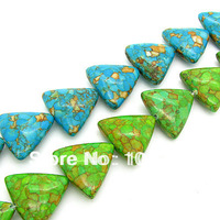 New Arrival! Triangle Created Gemstone Accessories Beads, Mixed Color Turquoise Stone Beads Wholesale Free Shipping HA035