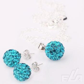 925 silver peacock rhinestone Necklace & Earrings Set Wholesale Fashion shamballa Jewelry sets for women