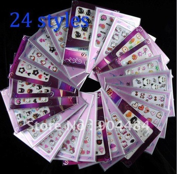 Lovely Image Beautiful Desgin 24 Different Luminous 3D Nail Art Stickers Acrylic Tips For Nails Decoration Accessories 136B