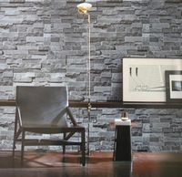 2014 Simulation 3D gray -brown stone brick pattern background den living room free shipping