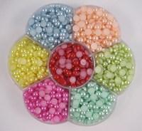 Free Shipping wholesale 1500pcs 5mm Half Round imitation Pearls Flat back Jewelry Nail Art Decoration craft DIY