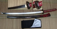 Free Shipping&Drop Shpping(1pcs) Handmade Folded Steel Samurai Sword With Red Ito&Sageo