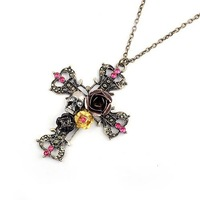 2014 New Fashion Hot-Selling Rose Flower Skull Cross Pendant Sweater Necklace For Woman 66N14