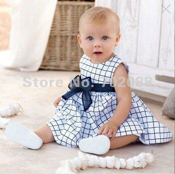 Free shipping Baby Plaid  dress chirdren sleeveless dress Baby' dress/ baby clothes/climbing clothes
