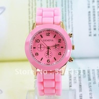 Free Shipping!10pcs/lot Geneva Classic Gel Silicone Band Watches Wholsale Lady Rubber Silicone Jelly Watch with 10 Colors M600I