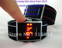 New Listed Fashion Men&#39;s Digital Electronic LED Watch Red Light 4 Color Including Watch Living Waterproof Watch 50pcs/lot(China (Mainland))