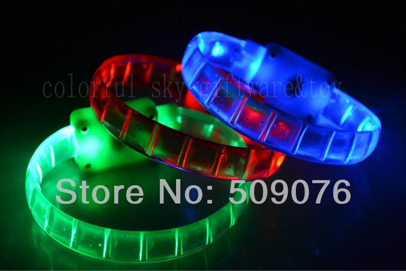 Free shipping 24/lot 24*1.5cm 4color led bracelets flashing Multicolor bracelet blinking bracelet for party favors(China (Mainland))