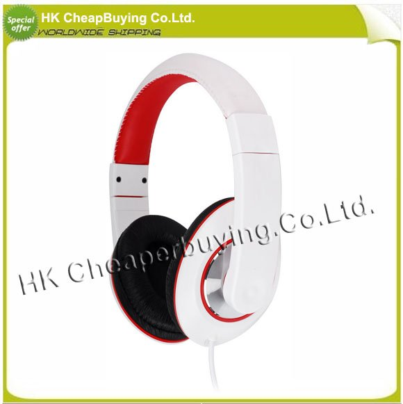Free Shiping Kanen iP-780 Ergonomic Stereo Headset Headphone with Microphone White + Red #SKU075(China (Mainland))