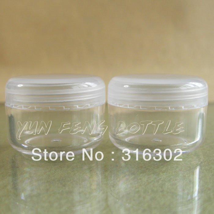 Free Shipping - 50/LOT cream bottle,Clear Empty Plastic Jar,Nail Art Glitter Dust Powder Case,Cream Pot(China (Mainland))