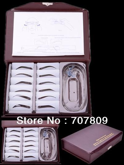 Free shipping 1set 12 types Perfect eyebrow Stencil Kit-designing eyebrow tool(China (Mainland))
