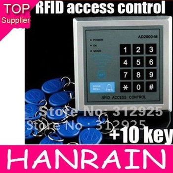 Retail Free shipping RFID Proximity Entry Lock Door Access Control System AD2000-M +10 Keyfobs