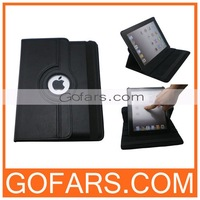 For the new iPad 4/3/2 360 Degree Rotation Stand Leather Case with Sleep/Wake Function,100pcs/Lot,High Quality