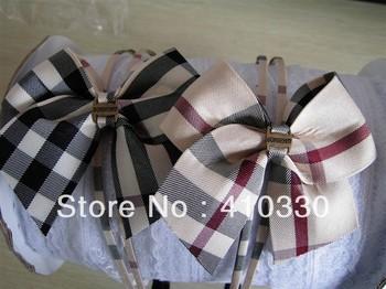 Fashion Plaid Pattern Fabric Cover Plastic Headbands/Ladies headbands/Baby Girl's Brand Bow Hairwear/Children's Hair Sticks
