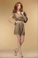 HOT! EMS wholesale 15pcs/lot  brown gray 2012 new summer explosion Korean Ladies temperament neck waist dress Princess Dress