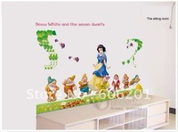 Removable Snow White & 7 Dwarfs Living room Decorative Wall Stickers,PVC Cartoon Children Room Sticker(120*60cm)-Free Shipping