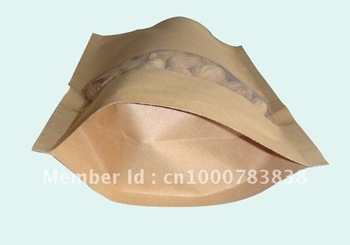 free courier wholesale 150*240mm 100pcs/lot Special for food packaging bags,brown kraft paper snack paper packaging zipper bags