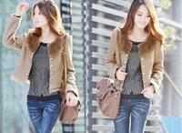 Free shipping brand lady's beaver jacket/coat long sleeved, women's cardigan coat drop shipping