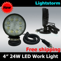 Free shipping!Promotion crazy price Magnet Base 10~30V 24W Auto high power LED work Light+18months warranty