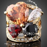 High Quality Promototion Imitation Diamond Rings Mix Color Free Shipping