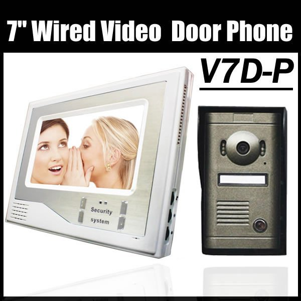 "Free shipping apartment building video Phone Intercom system 7"" LCD Doorbell color video door phone camera(China (Mainland))"