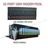 16 port Wavecom Q24plus chip quad band gsm modem pool with TCP/IP protocol Open AT