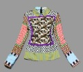 Hot Sell Lady's Europe Baroque Stylish Pots Printed Blouses Women High Quality Long Sleeve Vintage Colorful Tops/Shirts SS12018