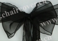 wholesale 50pcs new black chair bows sparkle organza cheap chair sashes for wedding party banquet decoration