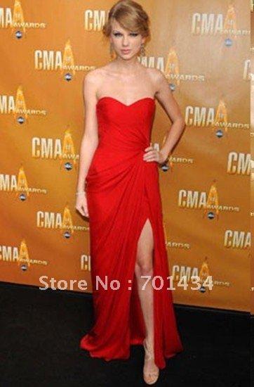 2014 New Fashion Wholesale Sweetheart Royal Red Chiffon Sexy Slit