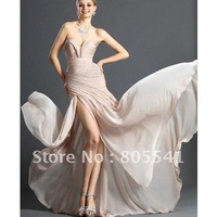 100% Real Sample Free Shipping New Design Gorgeous A-line Sweetheart Brand Chiffon Cheap Evening Dress with Front Open Design