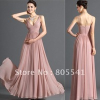 100% Real Photo Free Shipping New Design Gorgeous A-line Straps Chiffon Cheap Evening Dress EVD-032921