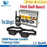 Remote control 2 dog training shock collar wholesalers 100LV vibra+shock+LCD display 300M Range Wholesales