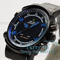 2012 New WEIDE Black Mens Stainless Blue Analog LED Dual Display Sport Wrist Watch Free Ship Dive Watch