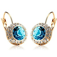 23 colours,cheapest price in aliexpress,Middleton same style gold crystal earrings for women