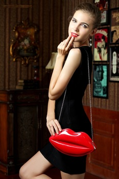 Free shipping women fashion sexy bag evening handbags mini lip clutches bags elegant vintage wallet