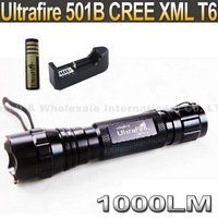 Ultrafire 501B CREE XML T6 1000 Lumens 5-Mode Led Flashlight Torch+ 4000MAH 18650+ charger
