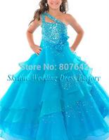 Custom Made A-Line One-shoulder Flower Girl Dress Floor-length Lovely First class Kid Dress Sky738