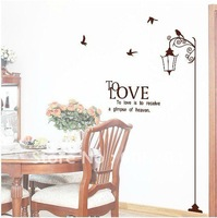 Removable Romantic Streetlight Living room Decorative Wall Sticker,PVC Background Sticker(1.3*1.8m)--Free Shipping