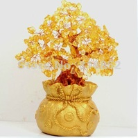 Natural yellow crystal purse lucky tree household adornment is placed exempt postage crystal handicraft