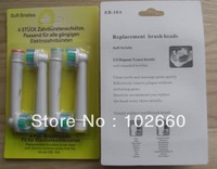 Freeshipping 4pcs EB18-A  electric neutral pack toothbrush heads 4 soft bristles (1pack=4pcs)