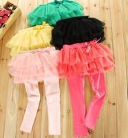 free shipping!Sweet Children skirt with tight legging Girls multi-color yarn skirt 4colour