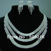 High Quality Austrian Crystal Silver Plated Promotion Wedding Party Rhinestone Bridal Jewelry Set