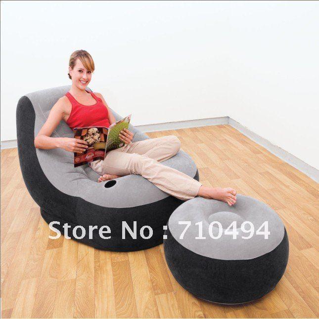 Free DHL Shipping Intex 68564 inflatable armchair with air footstool, single air sofa with intex hand pump(China (Mainland))